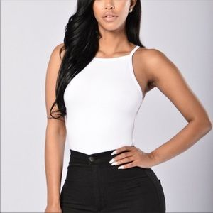 White open back thong closure body suit